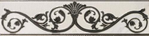 APE Apogeo Cenefa Rome White 9,7x40 Černá, Bílá A027539/K36