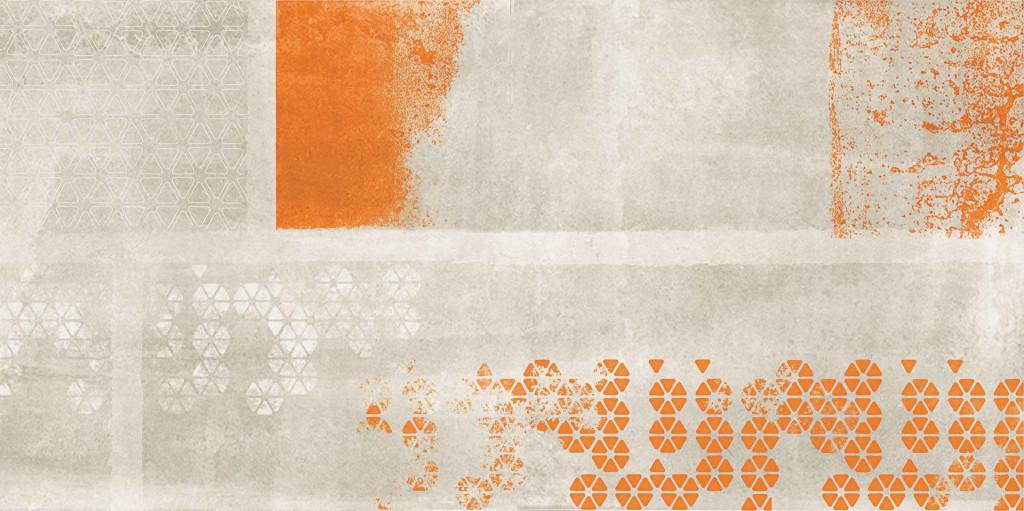 Flaviker Backstage Bisque Decoro Orange 40x80 Oranžová, Šedá světlá BKDI131