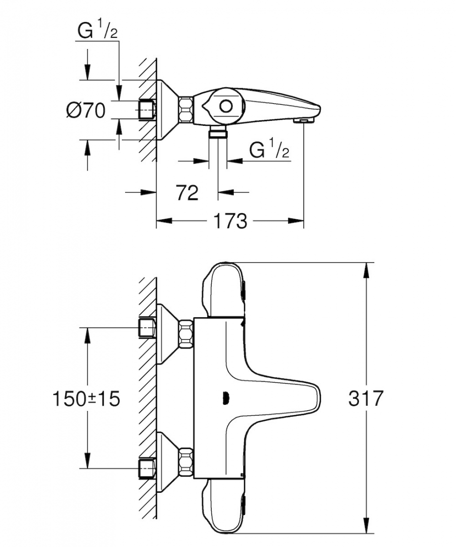 Termostat Grohe Grohtherm 1000 New s termostatickou baterií 150 mm chrom 34155003