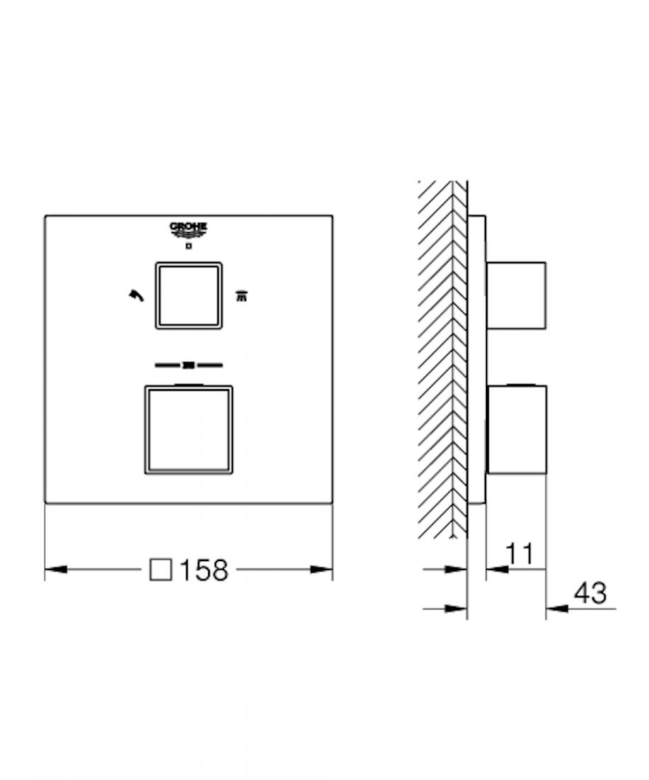 Termostat Grohe Grohtherm Cube bez podomítkového tělesa chrom 24154000