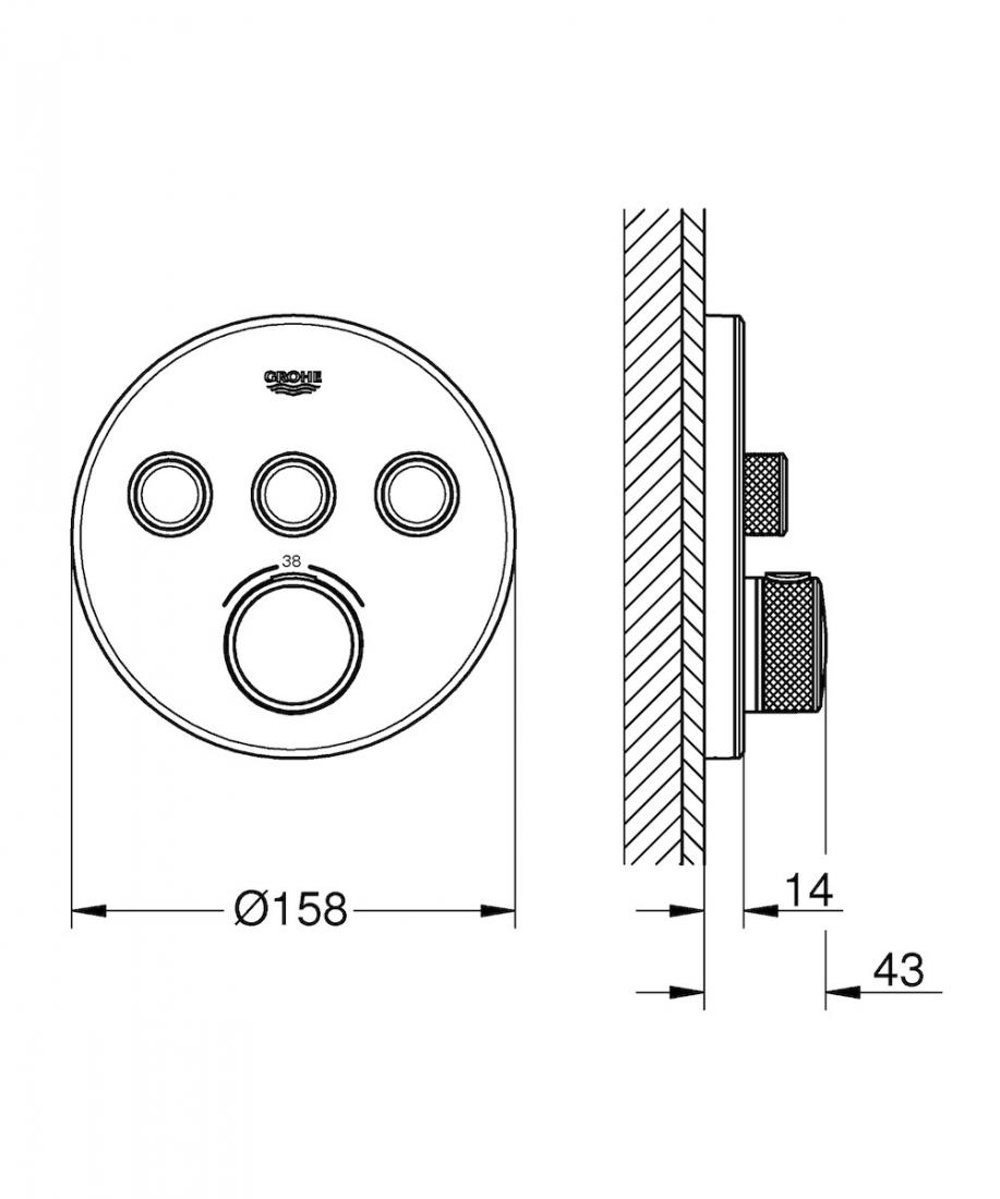 Termostat Grohe Smart Control bez podomítkového tělesa Moon White, Yang White 29904LS0