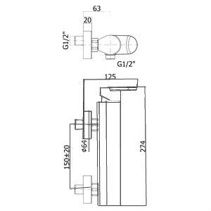 Sprchová baterie Paffoni Pavia bez sprchového setu 150 mm chrom CA168