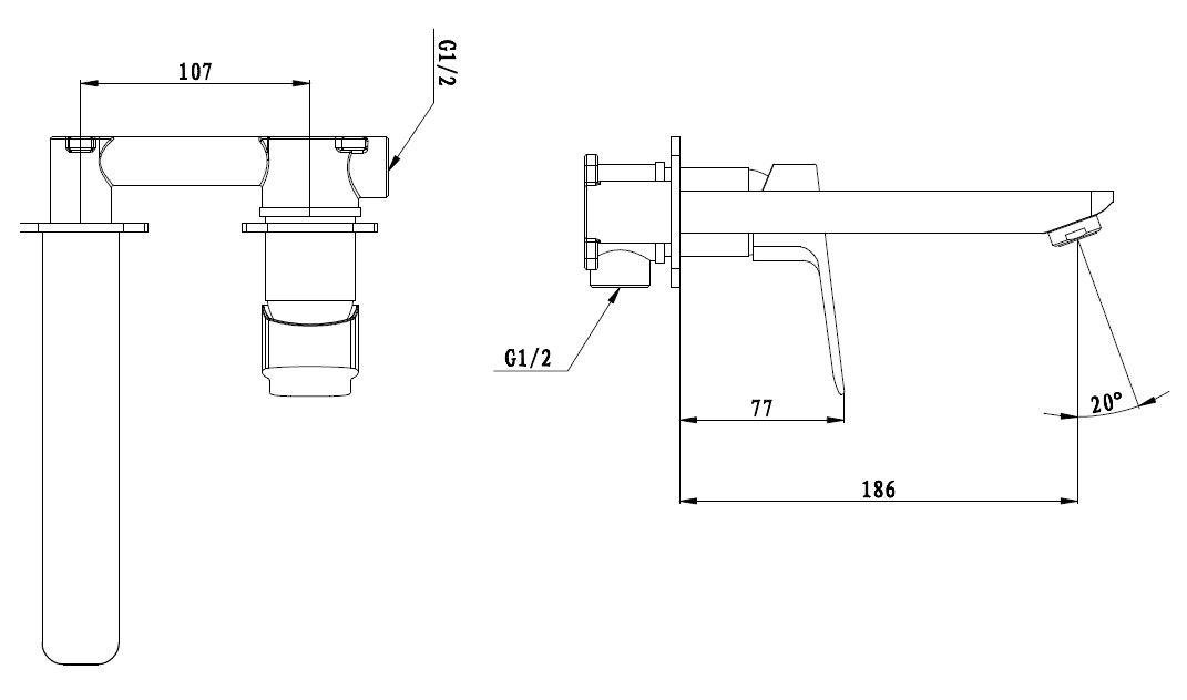 Umyvadlová baterie Optima Cube Way včetně podomítkového tělesa chrom CU101