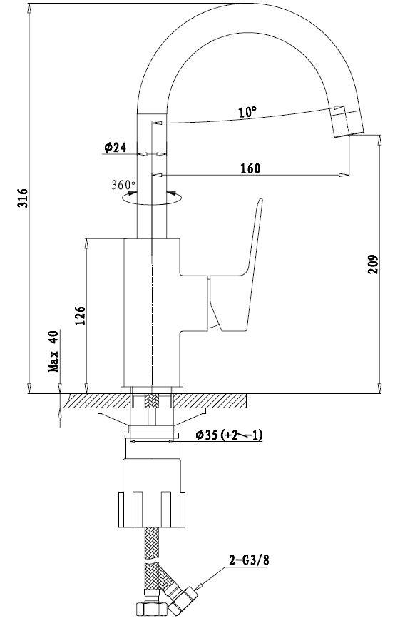 Dřezová baterie Optima Cube Way bez výpusti chrom CU280
