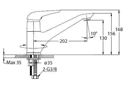 Dřezová baterie Optima Duela s otočným raménkem chrom DU282