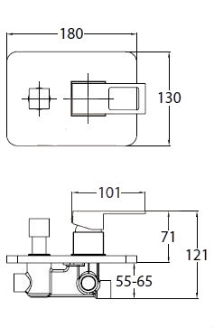 Vanová baterie Optima Levanta včetně podomítkového tělesa chrom LE215
