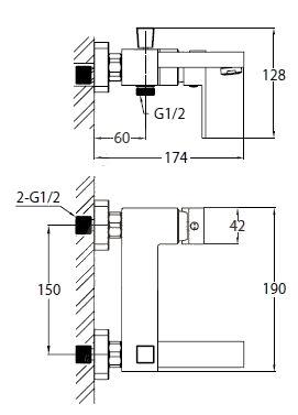 Vanová baterie Optima Levanta bez sprchového setu 150 mm chrom LE222