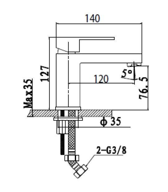 Umyvadlová baterie Optima Levanta bez výpusti chrom LE271