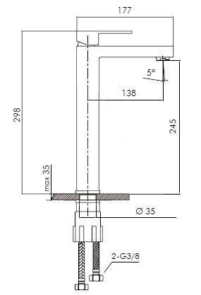 Vysoká umyvadlová baterie Optima Levanta bez výpusti chrom LE285