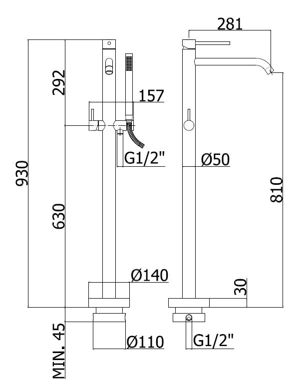 Vanová volně stojící baterie Paffoni Light se sprchovým setem chrom LIG032