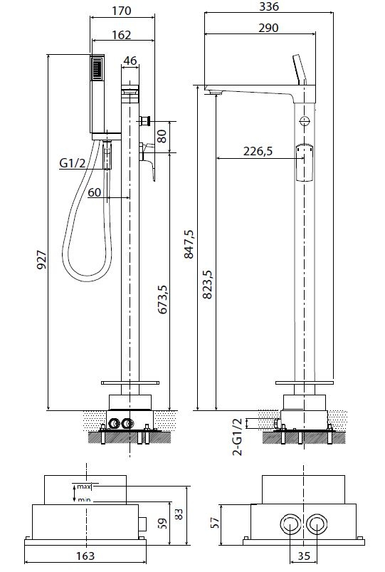 Vanová baterie Optima se sprchovým setem chrom OPBVANBAT002