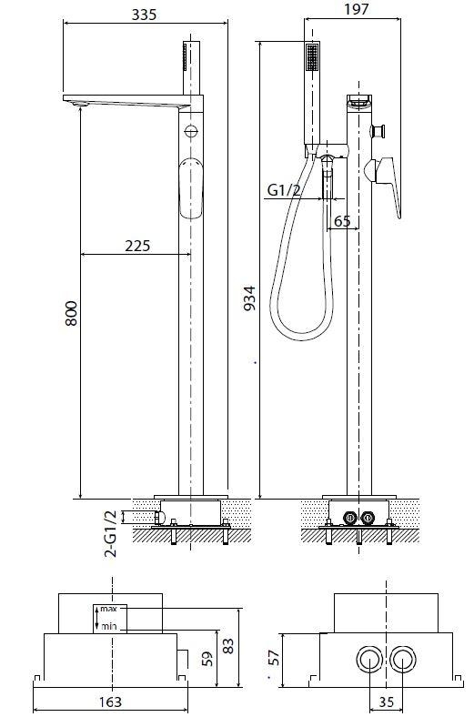 Vanová baterie Optima se sprchovým setem chrom OPBVANBAT003