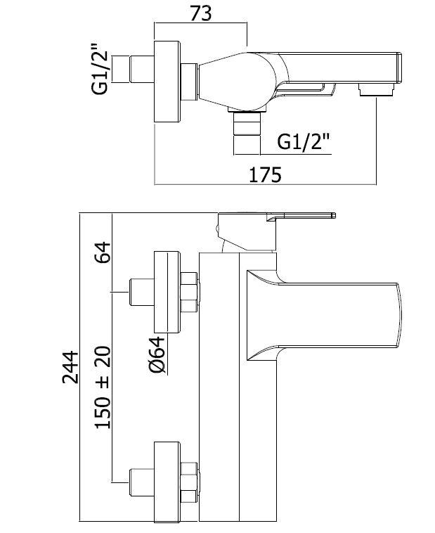 Vanová baterie Paffoni Vallone se sprchovým setem 150 mm černá RIN023NO