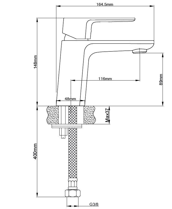 Umyvadlová baterie SIKO Lucida bez výpusti chrom SIKOBSLU271ES