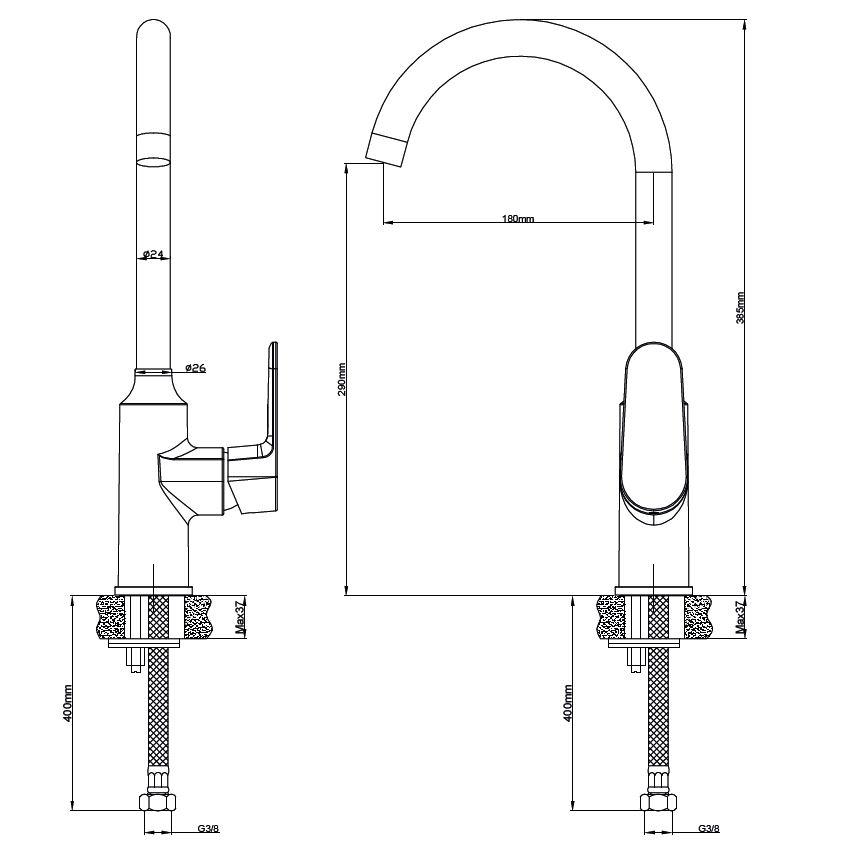 Dřezová baterie SIKO Lucida s otočným raménkem chrom SIKOBSLU280
