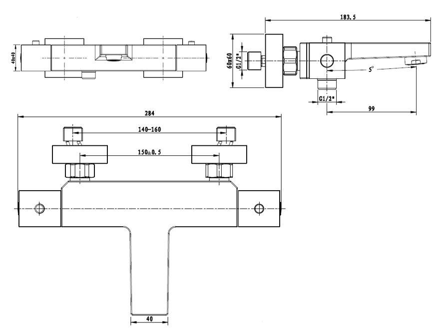 Vanová baterie Optima bez sprchového setu 150 mm chrom SIKOBST222H