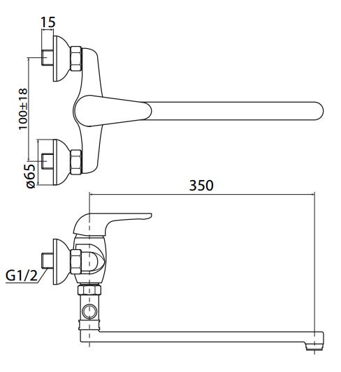Vanová baterie S-Line S-line bez sprchového setu 100 mm chrom SL27210