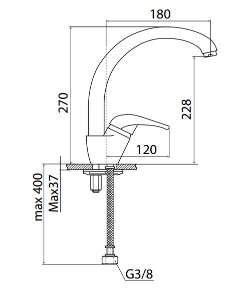 Dřezová baterie S-Line s otočným raménkem chrom SL281