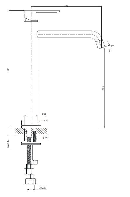 Vysoká umyvadlová baterie Optima Sofie bez výpusti chrom SO085